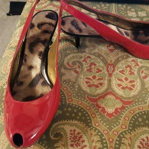 Sam Edelman 8 red patent leather heels shoes pumps